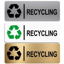 Recycling-WITH IMAGE-Aluminium Metal Sign-Door,Notice,Office,Shop,Waste,Material,Recycle